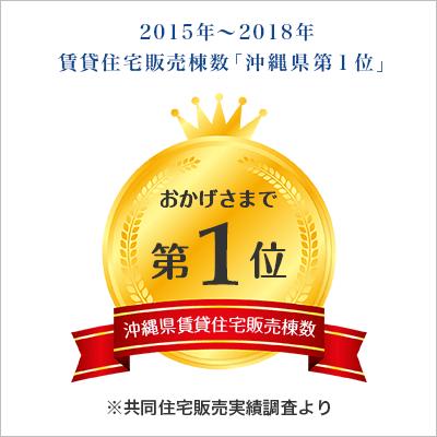 2015年〜2018年 賃貸住宅販売棟数「沖縄県 第1位」※共同住宅販売実績調査より